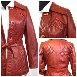Vintage Cherry Red Canadian Leather Jacket 9/10